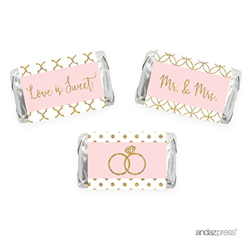 Andaz Press Blush Pink Gold Glitter Print Wedding Collection, Chocolate Minis Labels, Fits Hershey's Miniatures Party Favors, 36-pack