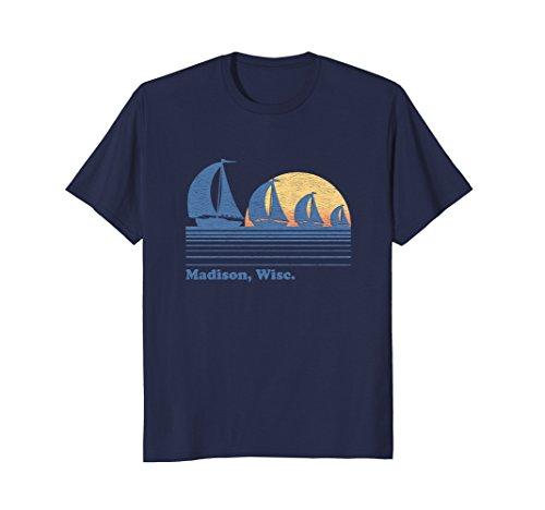 Madison WI Sailboat T-Shirt Vintage 80s Sunset - Madison Men's Wi Clothing