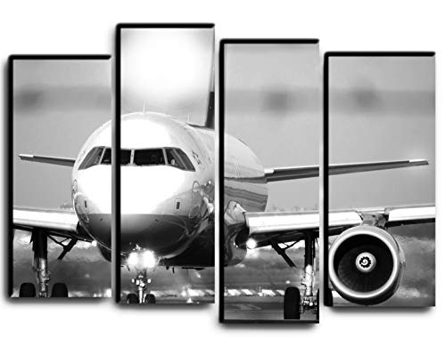 Big Set Jet Airplane Boeing 737 Wall Art Decor Picture Painting Poster Print on 4 Canvas Panels Pieces - Aviation Aircraft Theme Wall Decoration Set - Wall Picture for Living ()