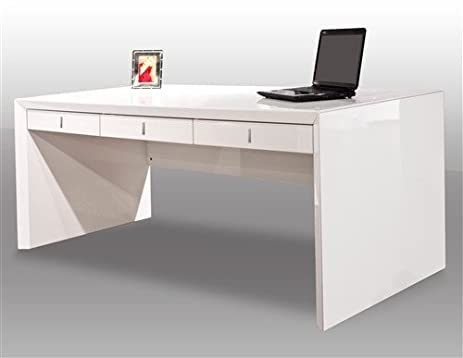Ultra Modern White Lacquer Executive Office Desk with Three Drawers