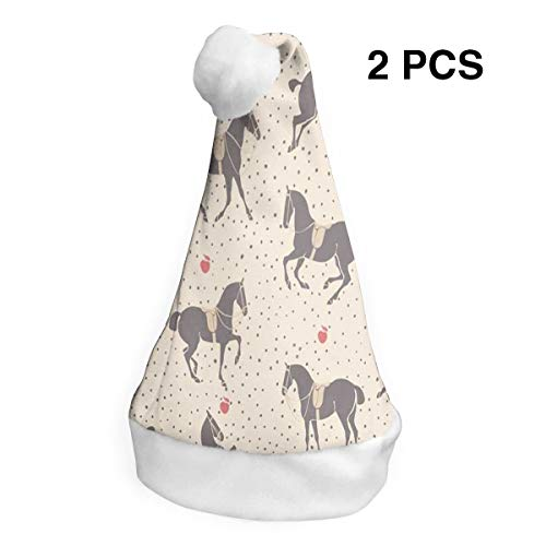 LoveBea Christmas Hat Dressage Horse Polka Dot Santa Hats Xmas Cap Party Decorations 2 PCS -