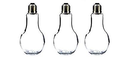 Botella decoración Botella de vidrio 3 Piezas 14,5 cm de alto Plata Bombilla de