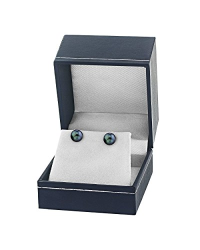 THE PEARL SOURCE 14K Gold 7.0-7.5mm AA+ Quality Round Black Akoya Cultured Pearl Stud Earrings for Women by The Pearl Source (Image #2)