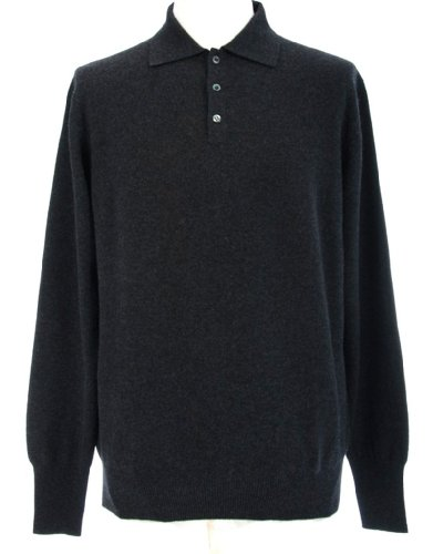 Mens Polo Cashmere Sweater (Shephe Men's Polo Cashmere Sweater with 3-button Charcoal Grey XX-Large)