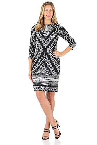 Rekucci Women's Classic Chic Shift Dress (12,Black/White Geo Print)