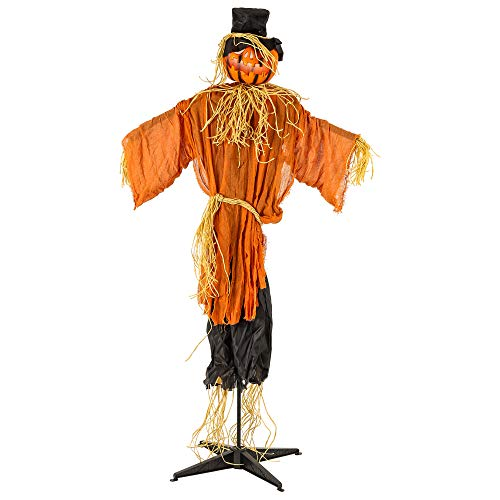 Halloween Haunters Animated Standing 6 Foot Scary Pumpkin Head Scarecrow Man Prop Decoration - Light-Up Flashing Face Turning Jack-O-Lantern Head with Moaning Sounds - Straw Hands, Haunted Harvest (Scarecrow Yard Stake)