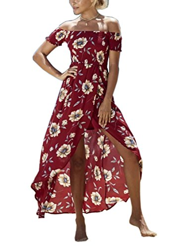 FFLMYUHULIU Womens Summer Boho Off The Shoulder Long Maxi Casual Dresses Split