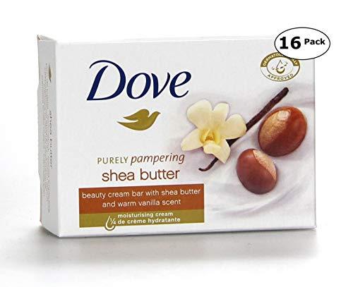 Dove Beauty Bar Soaps Shea Butter 16 Bars, 4.76 Oz/135 Grams Each