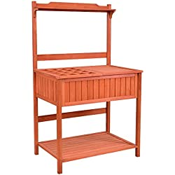 Giantex Outdoor Potting Bench with Storage Shelf Garden Work Bench Station Planting Fir Wood Construction