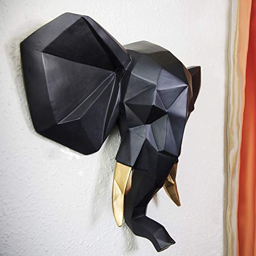 Wall Mount Sculpture - WALPLUS Contemporary Faux Taxidermy Black Gold Geometric Elephant Wall Mount Sculpture Art Decorations Home Idea