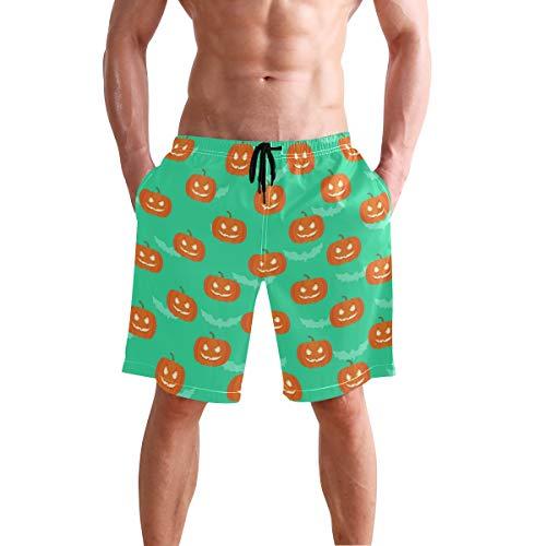 Titlesign Halloween Pumpkin Bat Mens Swim Trunks Quick Dry Board Shorts with Pockets Summer Swimsuit Beach -