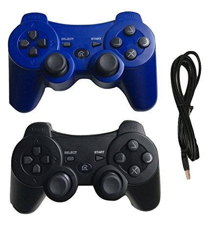 (Ps3 Controller Wireless Controller with Charger Cable - 2 Pack Dual Vibration ( Blue and Black - Compatible with Playstation 3 PS3 ) by IHK)