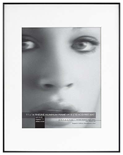 Black Line Glass - Framatic Fineline 11x14 Inch Aluminum Frame Matted to 8x10 Inch Photo, Black (302132)