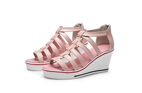 cm de Zapatos Altura Toe de Punta de Mujeres la Romanas de Pink Peep Aumentaron de con Plataforma la Espalda Espesor Las Sandalias Cuña de Zapatos de 8 Cremallera Sandalias Las Inferior q4gTIwx