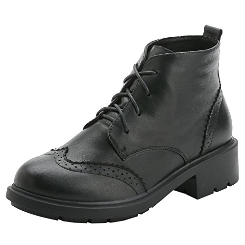 Biker rismart Stylish Brogue Ankle Leather High Wingtip Boots Black Women's WwgTqp0wU