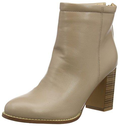 Boohoo Damen Rachel Wood Effect Block Heel Boot Kurzschaft Stiefel Beige (Nude)