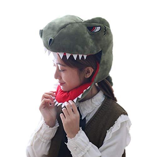 WINZIK Headwear Novelty Plush Dinosaur Hat Headgear Head