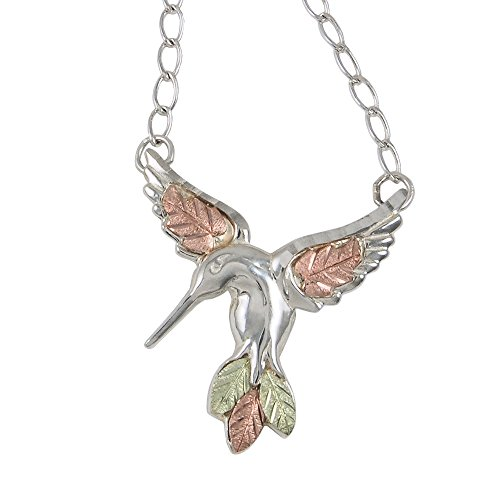 Black Hills Gold Hummingbird Pendant Necklace in Sterling Silver