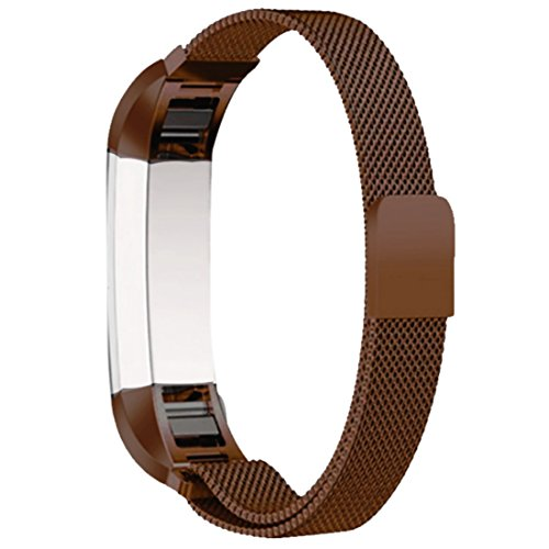 Ambcol for Fitbit Alta and Alta HR Magnetic Bands, Band Milanese Loop Stainless Steel Metal Replacement Bracelet Strap, Wristbands Accessories for Women Men Coffee Brown