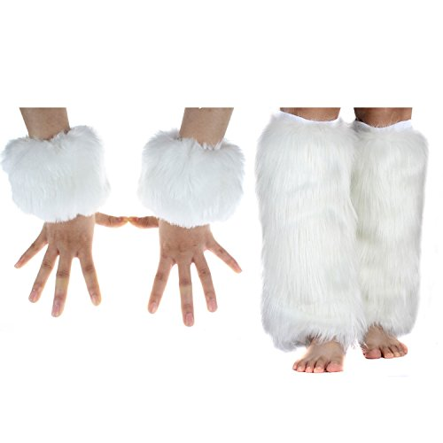 ECOSCO Faux Fur Wrist Cuffs Warmer Autumn Winter Cold Weather (40cm leg warmer+wrist cuff white)
