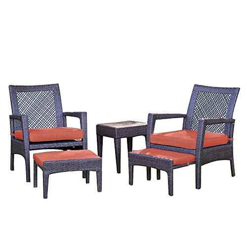 AURO Brisbane Outdoor Furniture'sectional Sofa Set 5-Piece Lounge Chair Ottoman All-Weather Brown Wicker Chat Seating with Orange Olefin Cushioned Chair Side Table Patio, Backyard, Pool