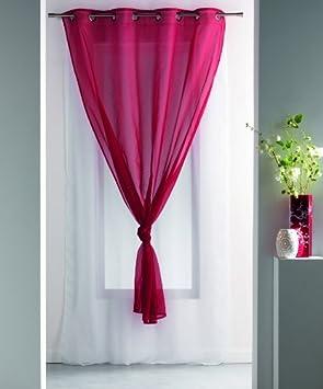 Rideau voilage double uni réversible rouge blanc.: Amazon.fr ...