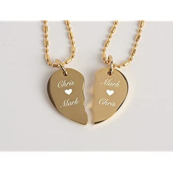 Amazon engraved extra small gold stainless steel couples engraved extra small gold stainless steel couples broken heart necklace pendant set personalized free aloadofball Gallery