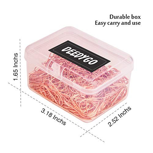250 Premium Cute Paper Clips Rose Gold Stainless Stell Wire Paper Clips in Durable Box Holder for Office Supplies Women Girls Kids (1 inch) by DeedyGo (Image #6)