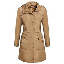 Meaneor Women Long Sleeve Spring Single Breat Long Trench Hood Coat Windbreaker