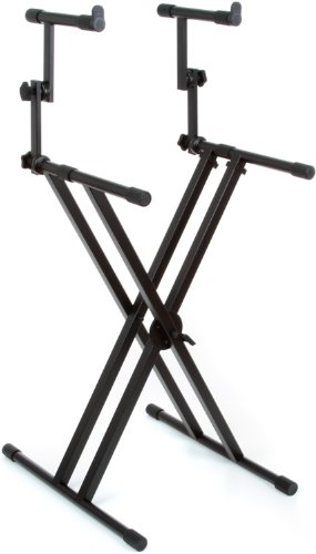 Gator Frameworks GFW-KEY-5100X Deluxe Two Tier X Style Keyboard Stand, Black (Brace Double X-style)