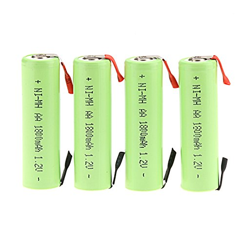 Windmax 4 x NiMH 1.2v AA 1800 mAh Electric Shaver Rechargeable Battery with Solder Tabs