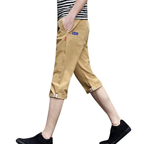 ANJUNIE Mens Capri Pants Breathable Casual Sport Comfortable Cargo Drawstring Calf-Length Short Joggers for Men(Khaki,XL)