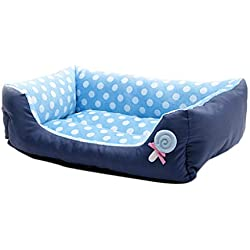 Dog Bed Rectangle, Pet Dog Cat Bed Puppy Cushion House Dog Cat Nest Soft Warm Kennel Dog Mat Blanket Pets Sofa Bed (Small, Blue)