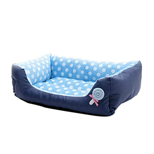 Pet Dog Lounge Sofa, Inkach Small Dogs Cats Square Nest Bed, Soft Cushion Couch Sleeping Mat Pad Comfy Warm Puppy Kitten Cave House (L, Blue) ()