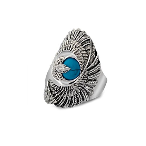 Jade Angel Thai Silver Eagle Vintage Style Men's Ring with Turquoise (10)