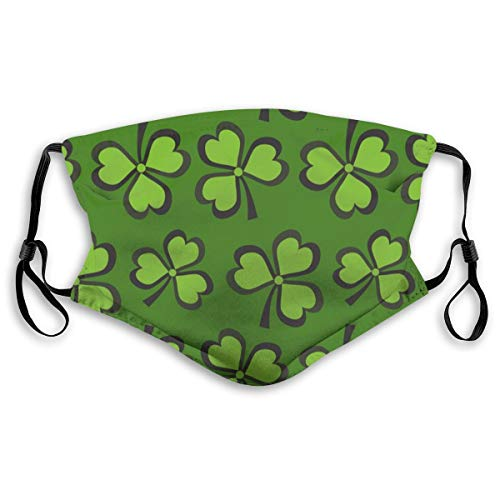 POSONINGS St Patricks Day with Clover KN95 Mouth Mask,Free Two N95 Filter Elements Mask Personality Print Anti-Pollen Mask Anti-dust and Polyester Face Mask Face PM2.5