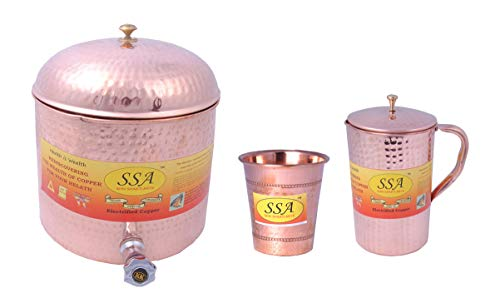 - SHIV SHAKTI ARTS 1 Pure Copper Cylindrical Shape Tank/Container Pot Capacity 7 Litre with Lid & 1 Copper Glass Hammered Design & 1Copper Hammered Jug 2Ltr With Lid::Water Drinkware Set of 3
