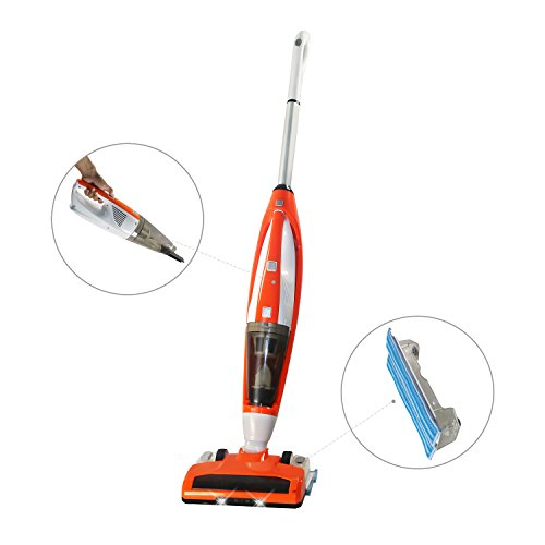 3+1 Functions New Cordless Upright Stick Vacuum Cleaner, Handheld Vacuum and Bagless Sweeper Vac with Water Tank Wet/Dry Cleaning Mop for Carpet and Floor (Orange) (Dragon Mop)
