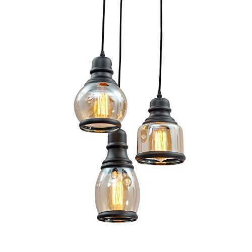 SUN-E Brand Industrial Factory Garage Stem Hung Pendant Lamp Antique Black Shade Glass Jar 3 Lights Fixture with Downlight Modern Vintage
