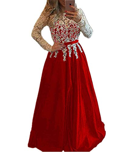Meaningful Women Lace Beaded Long Sleeves Satin Prom Dresses 2018 Formal Evening Gowns Long ES Size 6 Red
