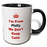 "3dRose mug_180033_4 ""dont Keep Calm, Philly, Red & Blue Lettering On White Background Two Tone black"" Mug, 11 oz, Black/White"