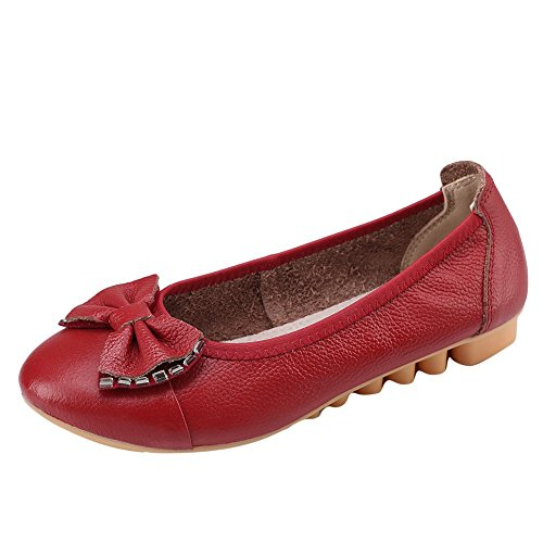 Carolbar Women's Sweet Lovely Rhinestonse Flat Bow Spring Court Shoes Wine Red 571g4Ndlp