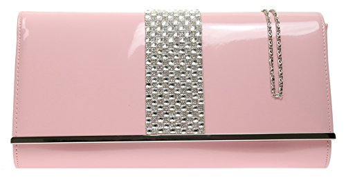 New Dark Evening Clutch Glossy Nude Leather HandBags Bag Faux Diamante Frame Girly Patent Party wqCHH6