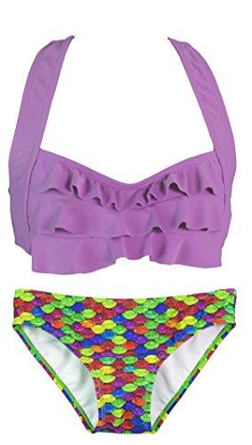 Fin Fun Mermaid - Damen Bikini-Set im Wellen-Design - Mermaidens Bademode Regenbogen-Riff/Violett BL7xHQh