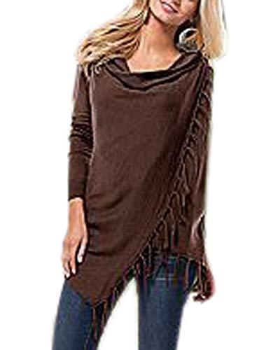 a Frange Jumper Lunga Moda Donna Manica e Inverno Maglione Casual Cime Sweater Bluse Pullover Autunno con Tops Lungo Maglie pOq0T