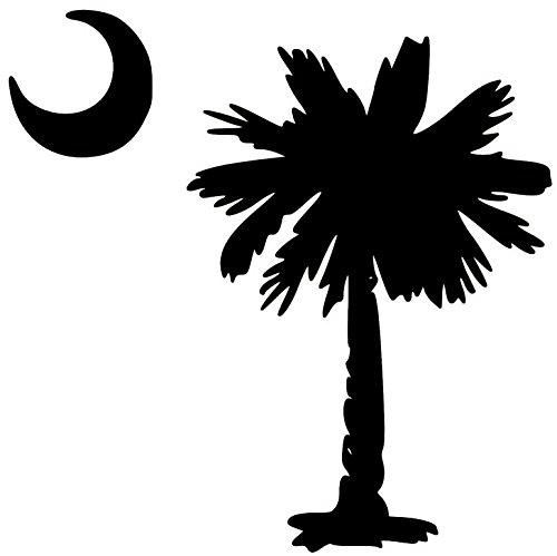 Minglewood Trading Palmetto Tree South Carolina Flag Crescent Moon Vinyl Decal Sticker - 5