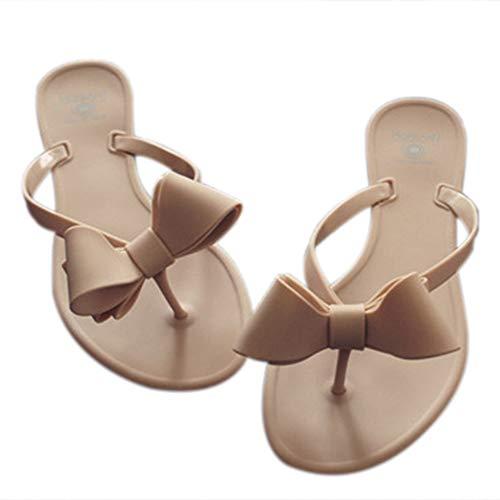 Shoe'N Tale Women Ribbon Bow Sandals Flip Flop Narrow Strap (6.5 B(M) US, Beige)