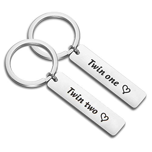 PLITI Twins Jewelry Twin One Twin Two Twin Sisters Brother Matching Pair Keychain (Twin 1 2 - Twins Brothers