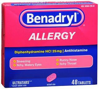 [베나드릴 베네드릴] Benadryl Allergy Ultratab Tablets - 48 ct, Pack of 2 [미국 알러지약]