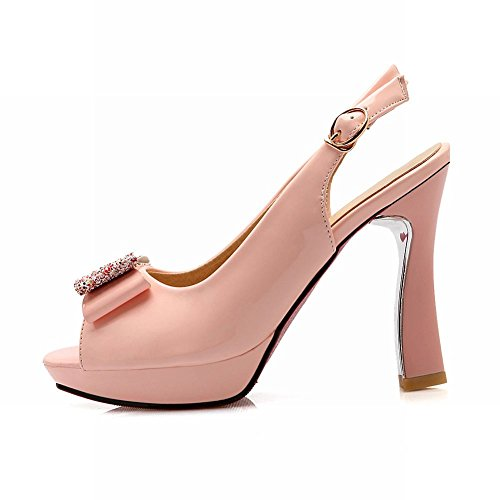 Shoes Carolbar Slingback Elegant Women's Bow High Charm Toe Pink Peep Court Heel T6vTqO